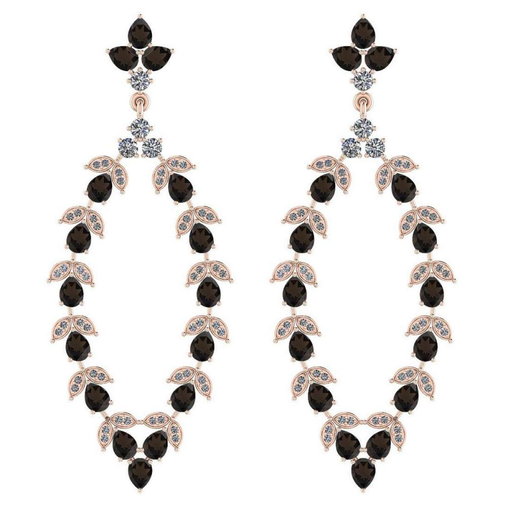 Certified 7.75 Ctw Smoky Quartz And Diamond VS/SI1 18K Rose Gold Dangling Earrings #IRS27844