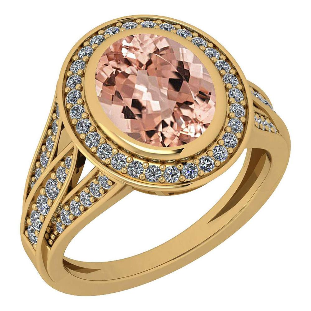 Certified 3.05 Ctw Morganite And Diamond VS/SI1 18K Yellow Gold Ring #IRS27996