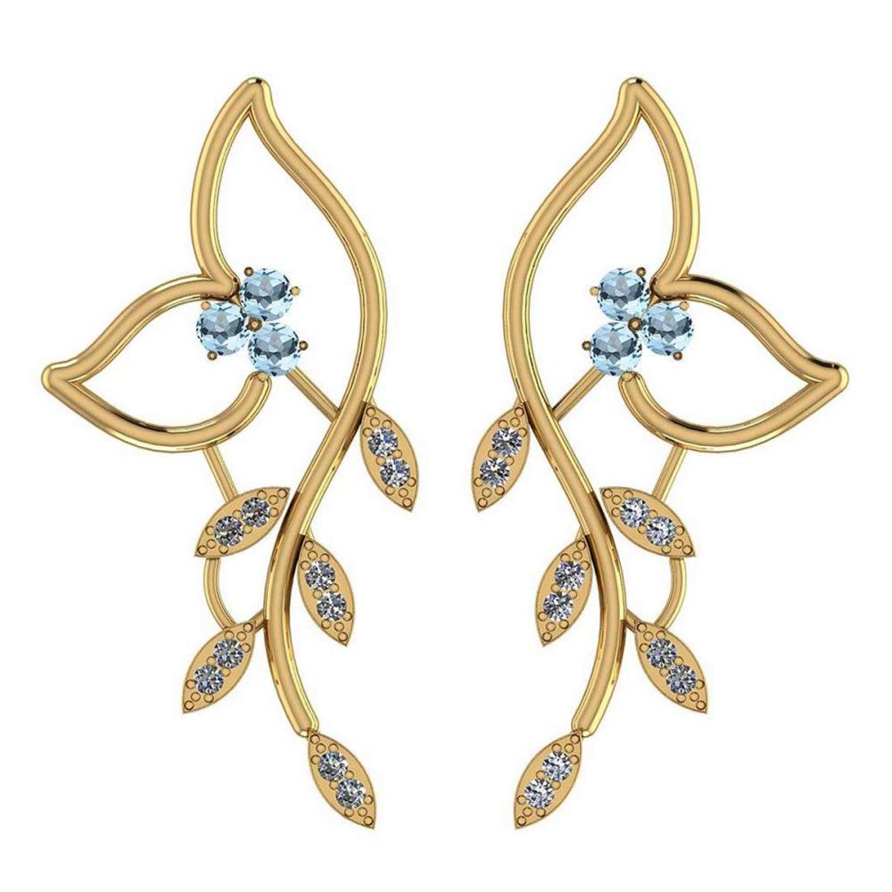 1.51 Ctw Blue Topaz And Diamond VS/SI1 14K Yellow Gold Earrings #IRS25841