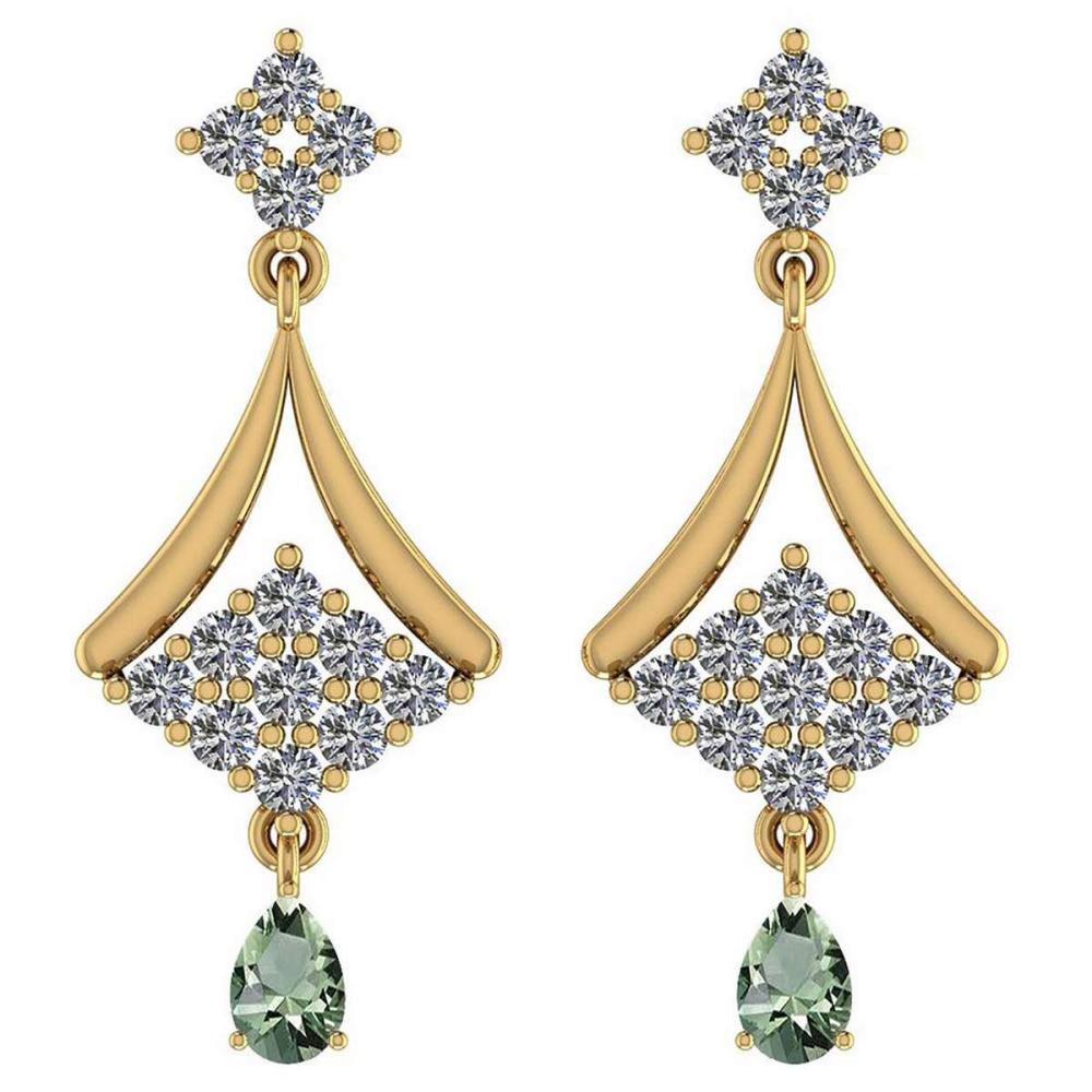 Certified 2.79 Ctw Green Amethyst And Diamond VS/SI1 14K Yellow Gold Dangling Earrings #IRS27089