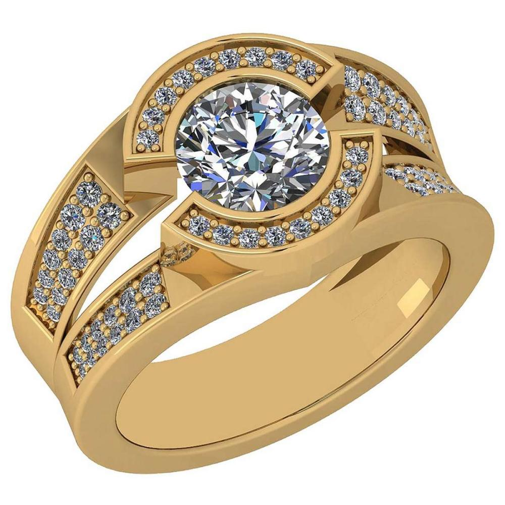 Certified 1.62 Ctw Diamond SI2/I1 18K Yellow Gold Halo Ring #IRS25592