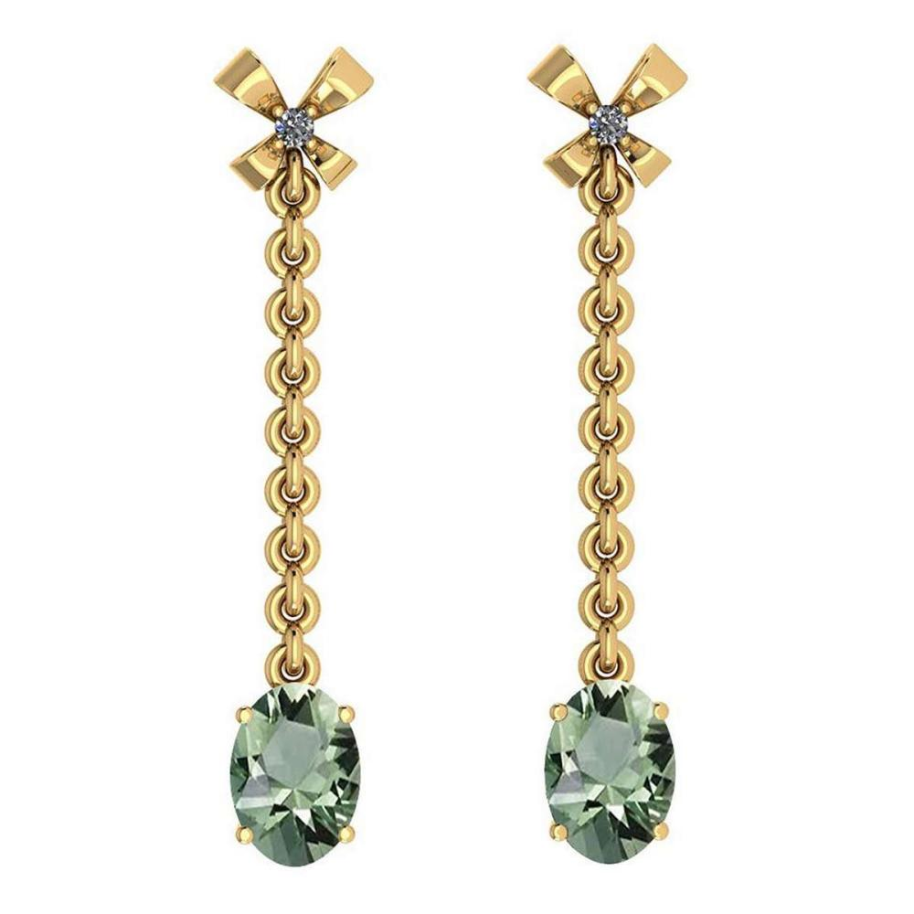 1.53 Ctw Green Amethyst And Diamond VS/SI1 14K Yellow Gold Earrings #IRS25861