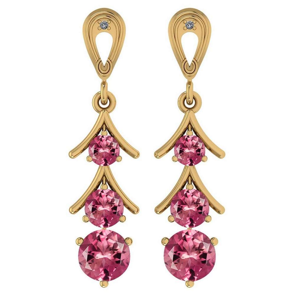 Certified 1.62 Ctw Pink Tourmaline And Diamond VS/SI1 18k Yellow Gold Dangling Earrings #IRS25464