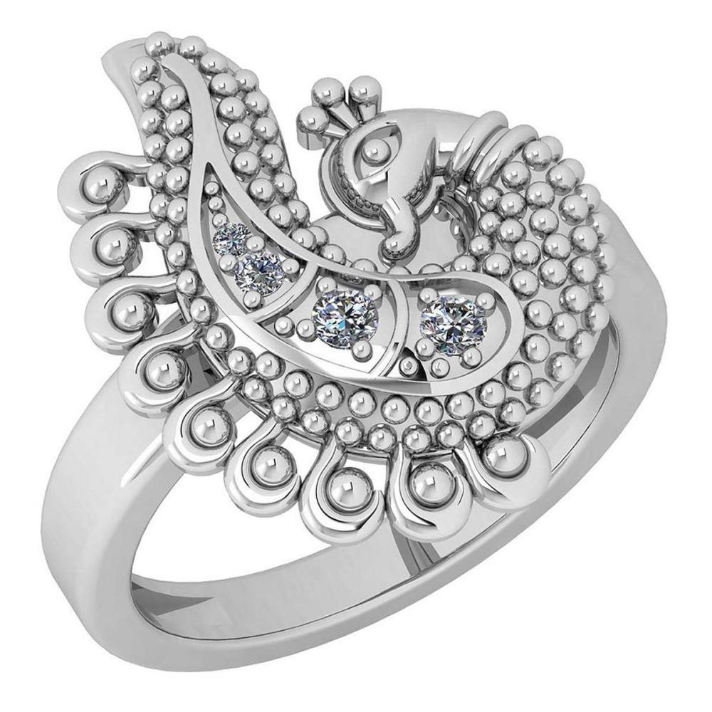 Certified 0.08 Ctw Diamond VS/SI1 Peacock Style 18K White Gold Ring #IRS25645