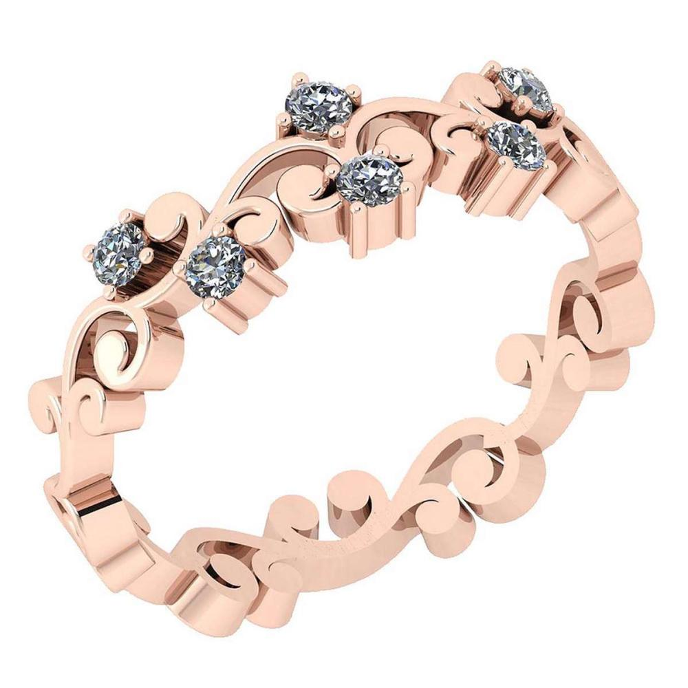 Certified 0.18 Ctw Diamond VS/SI1 14K Rose Gold Band #IRS24685