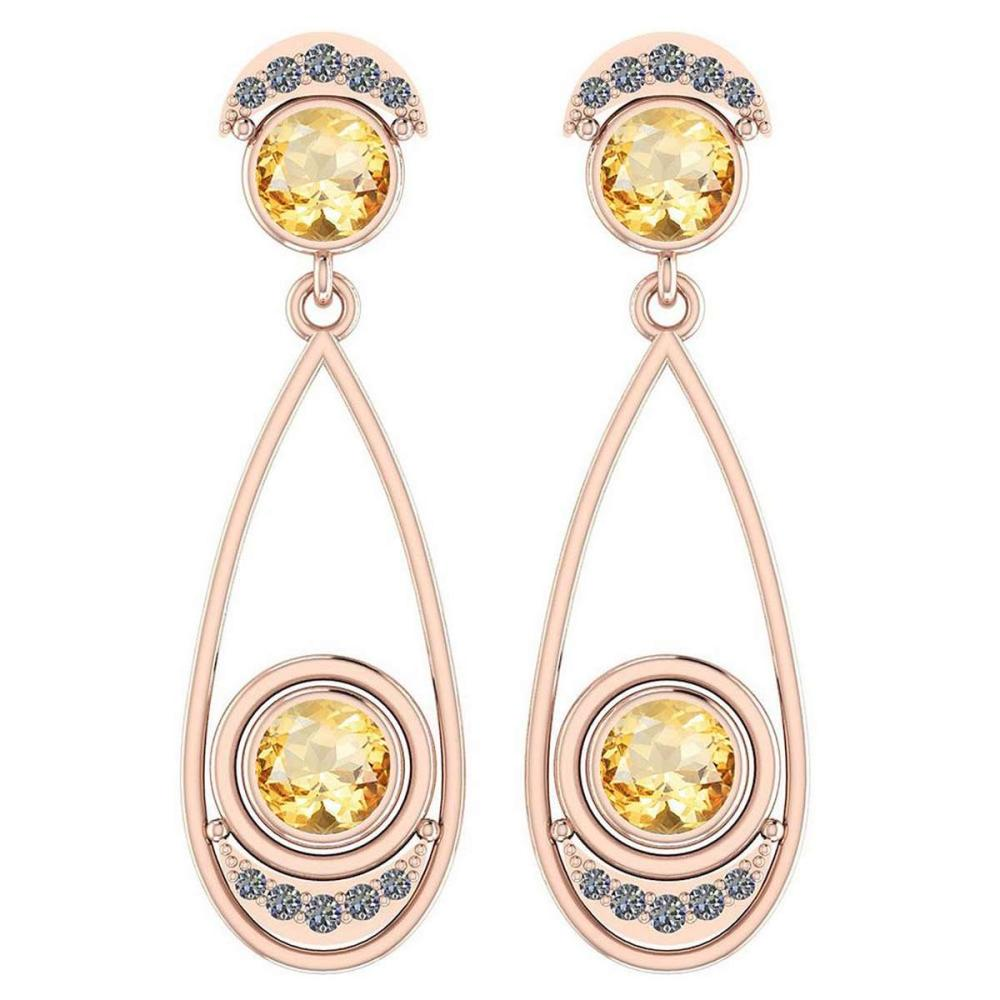 2.97 Ctw Citrine And Diamond VS/SI1 14K Rose Gold Dangling Earrings #IRS25854