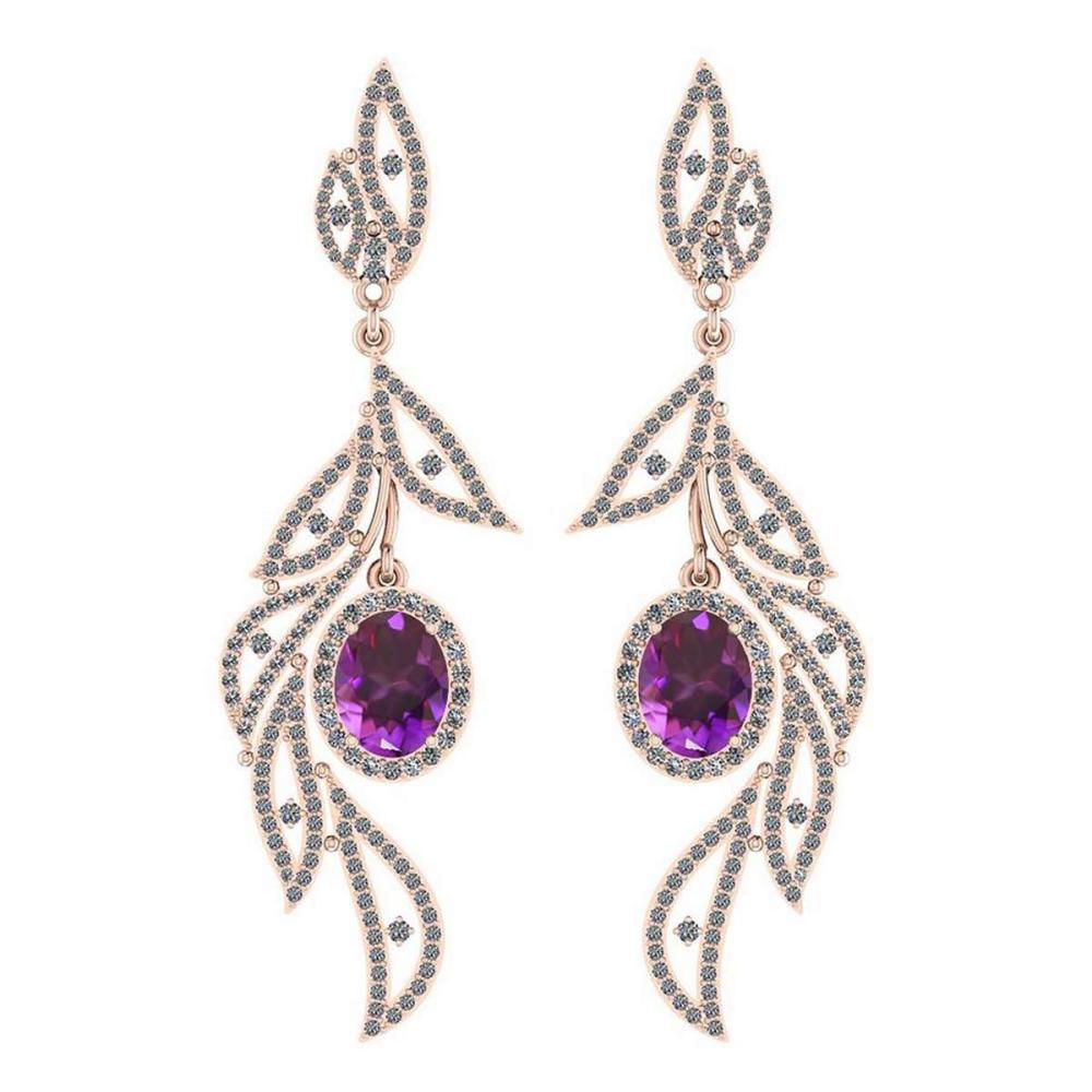 5.92 Ctw Amethyst And Diamond VS/SI1 14K Rose Gold Dangling Earrings #IRS25844