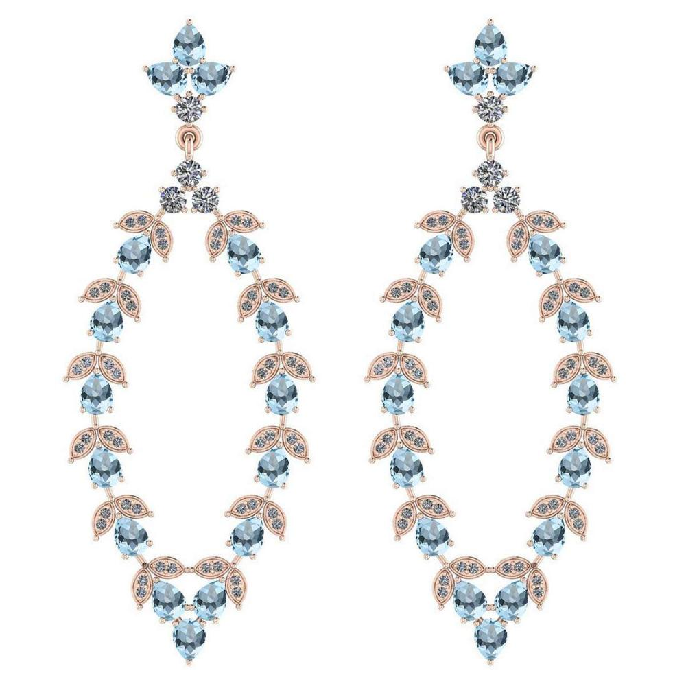 Certified 7.75 Ctw Blue Topaz And Diamond VS/SI1 18K Rose Gold Dangling Earrings #IRS27841