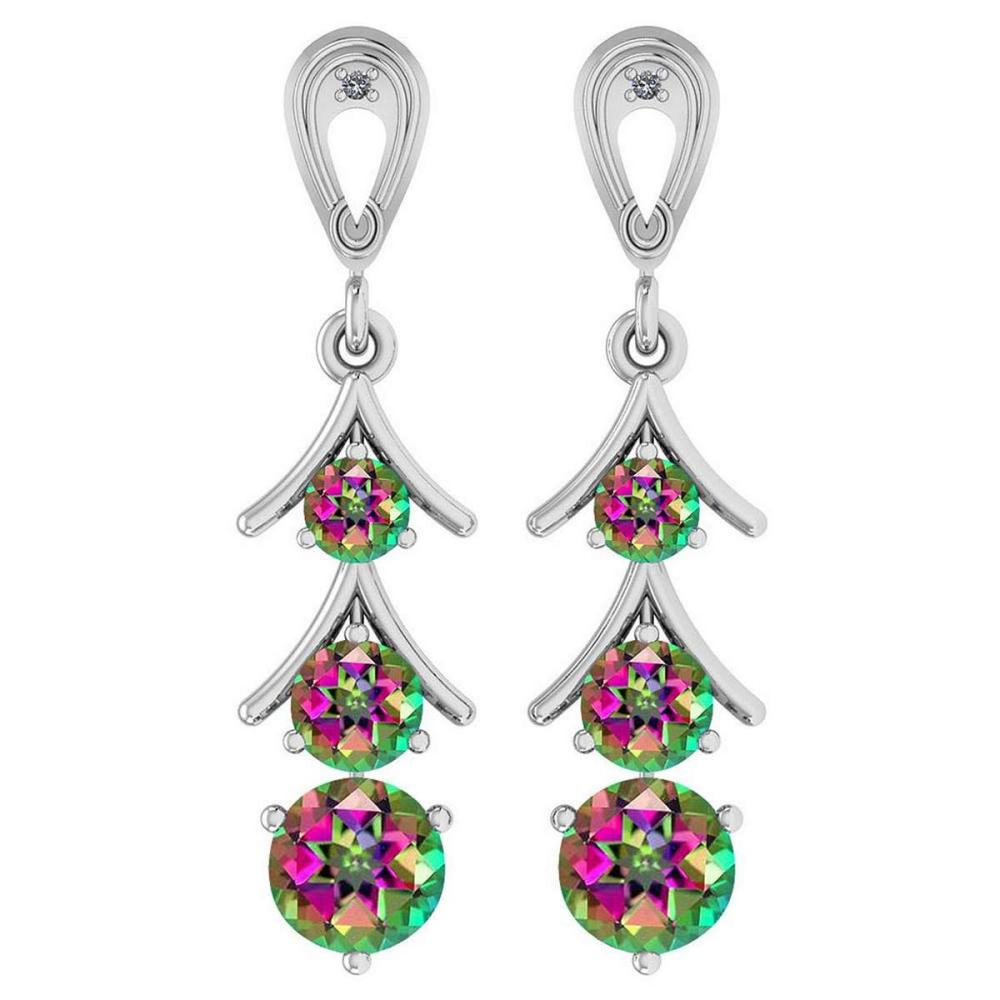 Certified 1.62 Ctw Mystic Topaz And Diamond I1/I2 10K White Gold Dangling Earrings #IRS25389