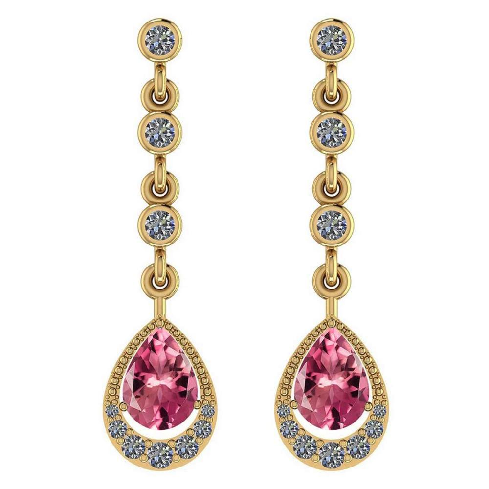 Certified 2.30 Ctw Pink Tourmaline And Diamond VS/SI1 18K Yellow Gold Dangling Earrings #IRS27272