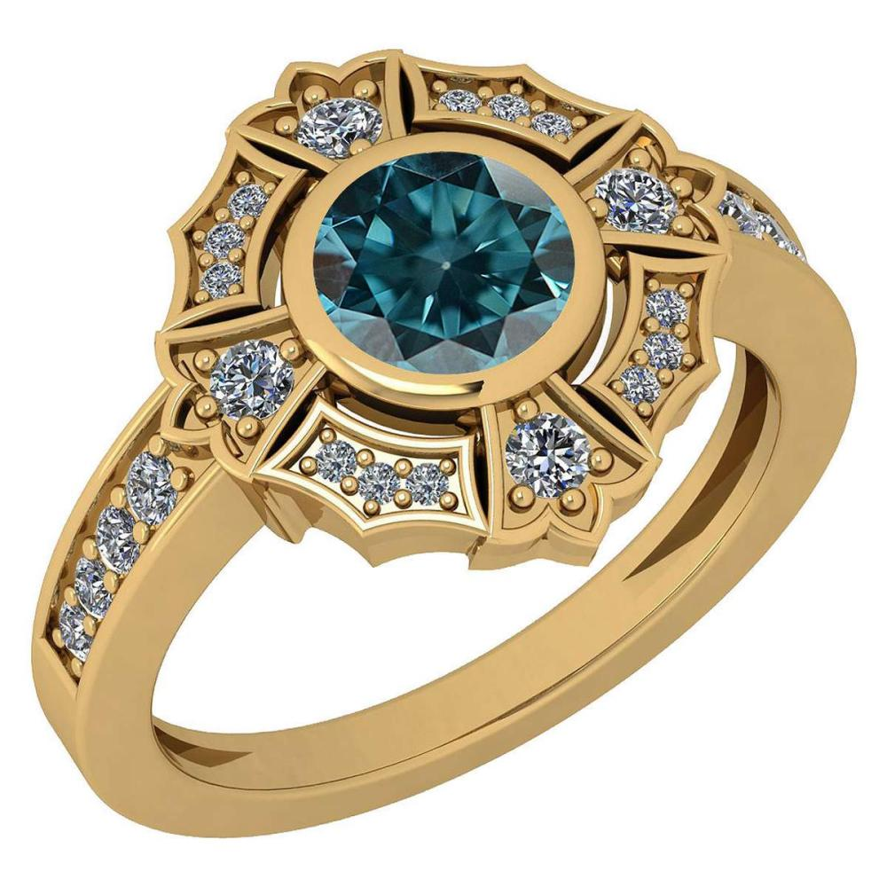 Certified 1.15 Ctw Treated Fancy Blue Diamond I1/I2 And White Diamond VS/SI1 18k Yellow Gold Ring #IRS27989