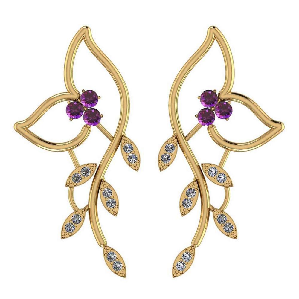 1.51 Ctw Amethyst And Diamond VS/SI1 14K Yellow Gold Earrings #IRS25836