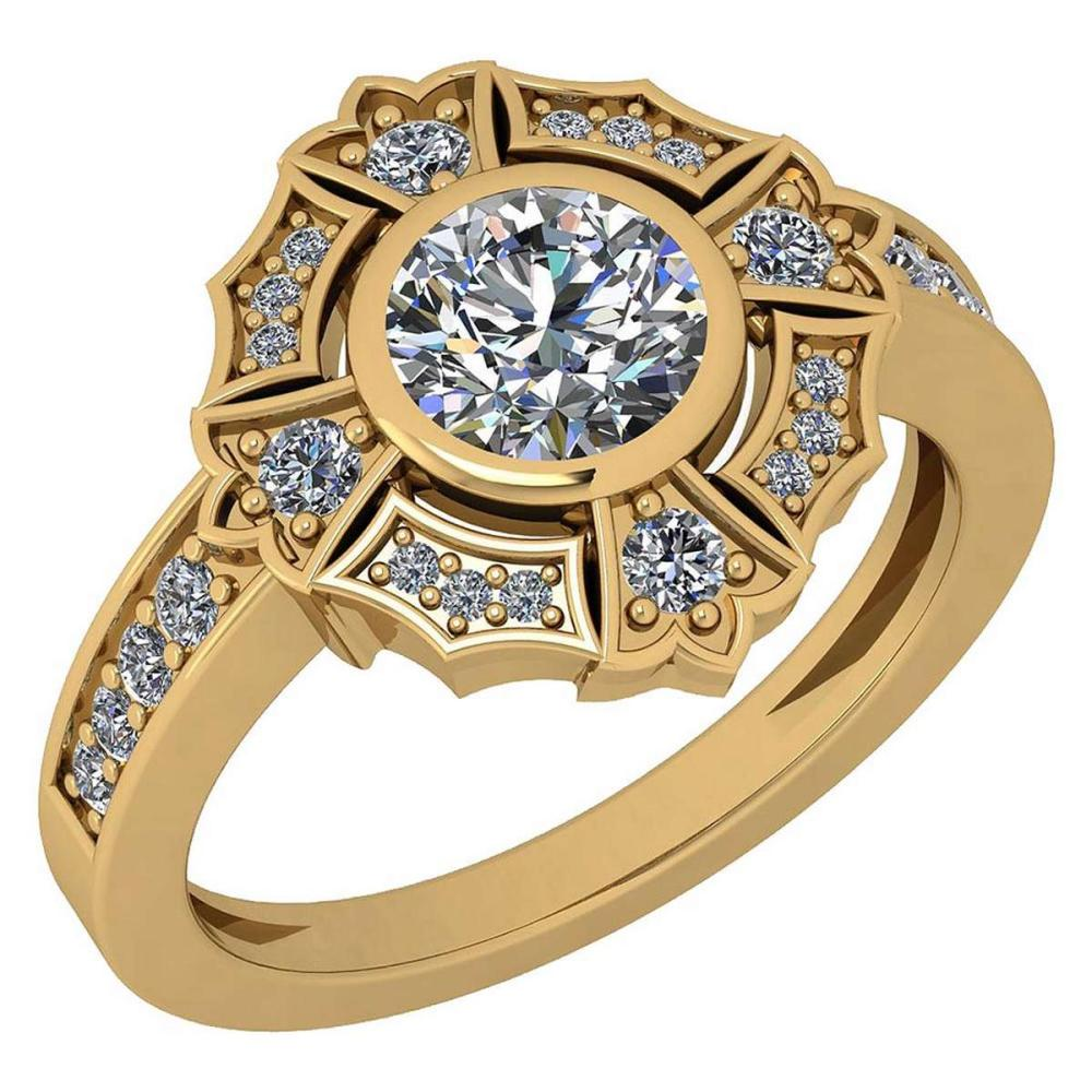 Certified 1.15 Ctw Diamond SI1/SI2 18K Yellow Gold Halo Ring #IRS25595