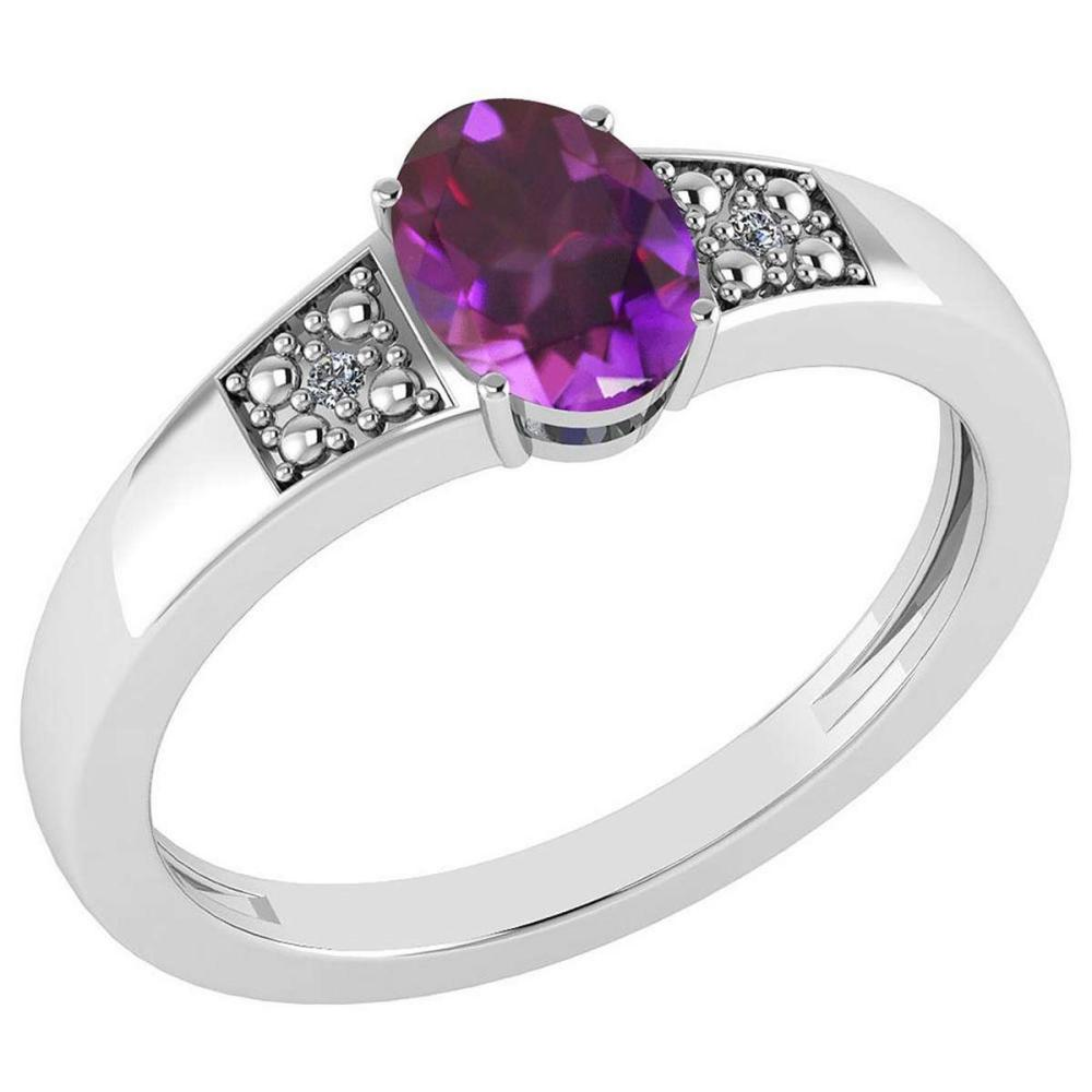 Certified 0.77 Ctw Amethyst And Diamond VS/SI1 14K White Gold Ring Size 4.5 to 9 Is Available #IRS26776