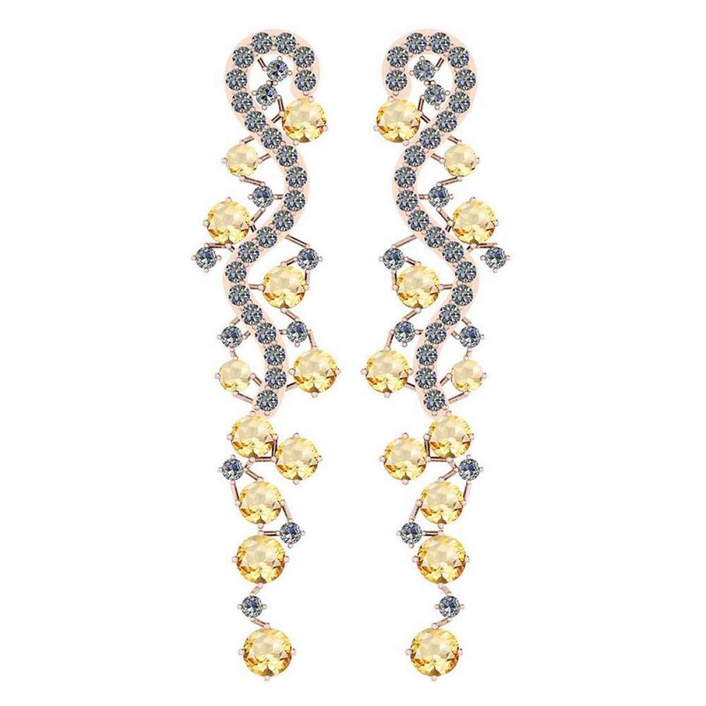 Certified 7.02 Ctw Citrine And Diamond VS/SI1 10K Rose Gold Dangling Earrings #IRS25394
