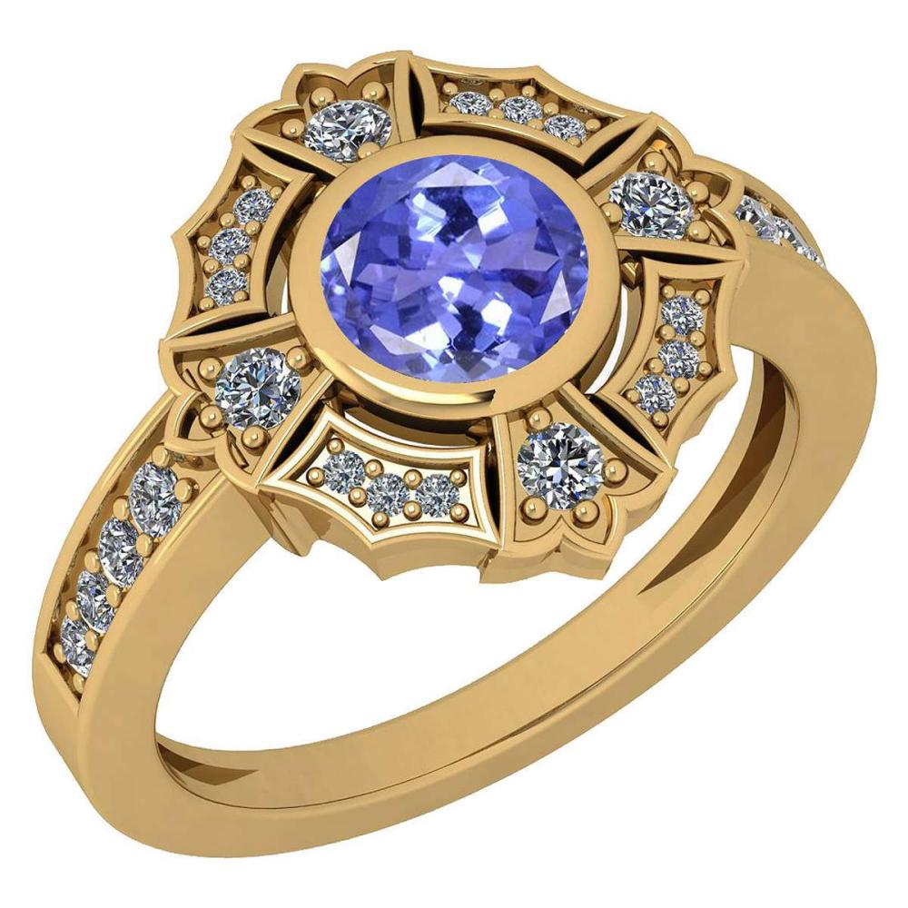 Certified 1.15 Ctw Tanzanite And Diamond VS/SI1 18k Yellow Gold Ring #IRS27987