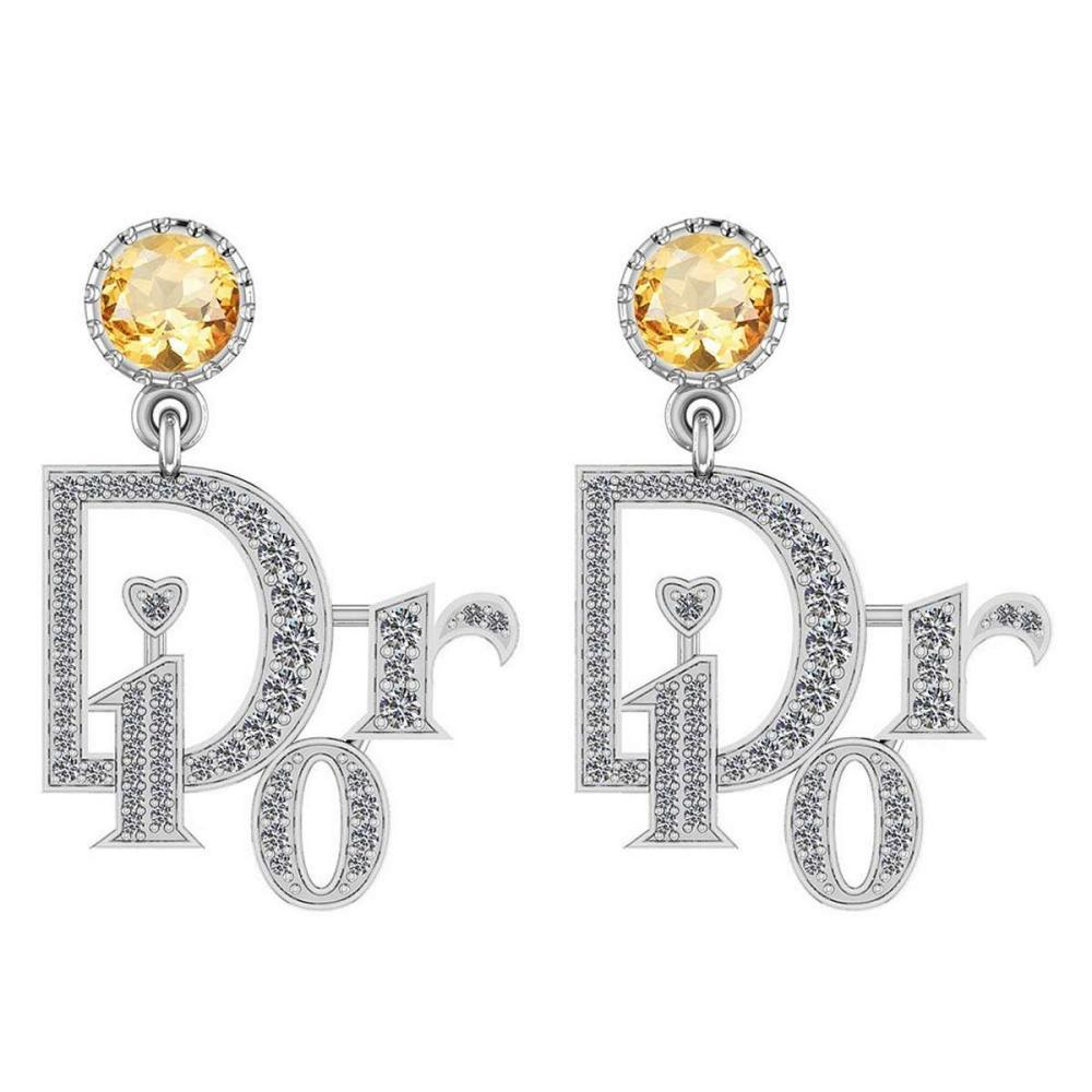Certified 7.02 Ctw Emerald And Diamond VS/SI1 14K Rose Gold Dangling Earrings #IRS25402
