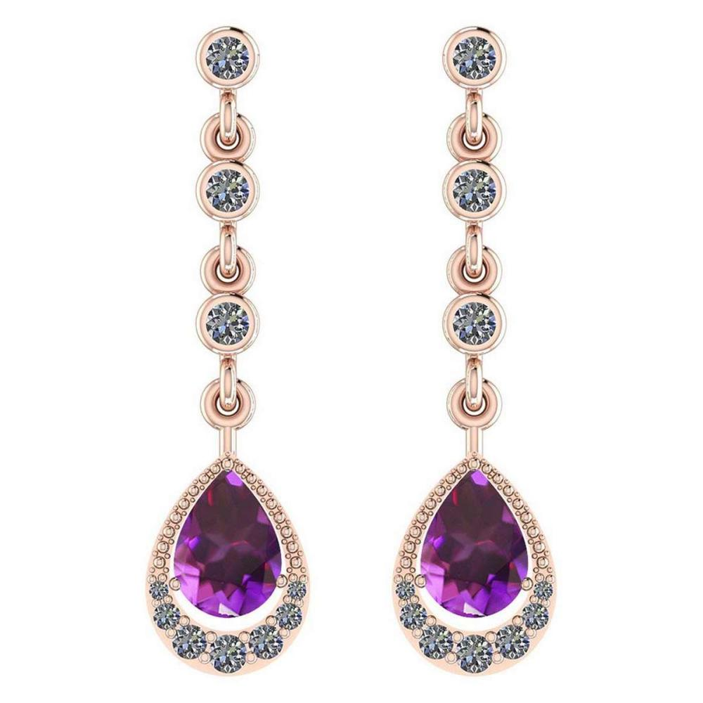 Certified 2.30 Ctw Amethyst And Diamond VS/SI1 14K Rose Gold Dangling Earrings #IRS26960