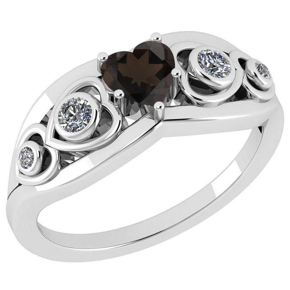Certified 0.66 Ctw Smoky Quartz And Diamond 14K White Gold Ring #IRS27103