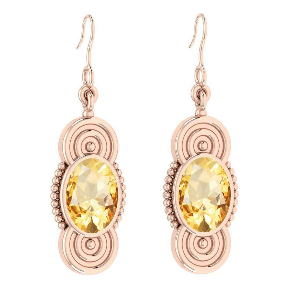Certified 4.00 Ctw Citrine 18K Rose Gold Wire Hook Earrings #IRS27863