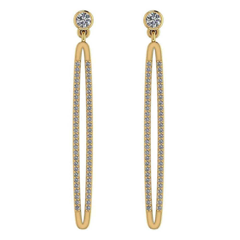 Certified 0.74 Ctw Diamond VS/SI1 18K Yellow Gold Hanging Stud Earrings #IRS26409