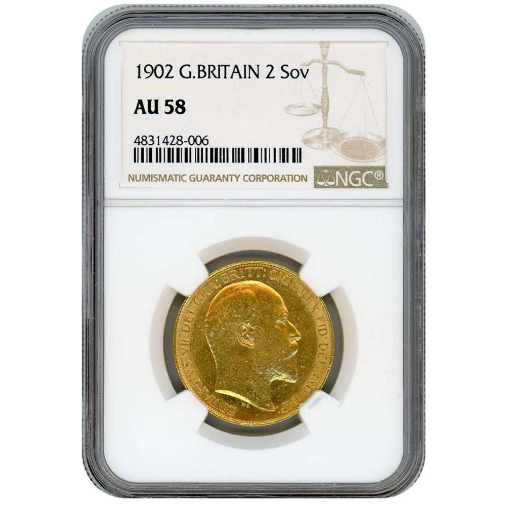 Great Britian Double Sovereign 1902 AU58 NGC #IRS27683