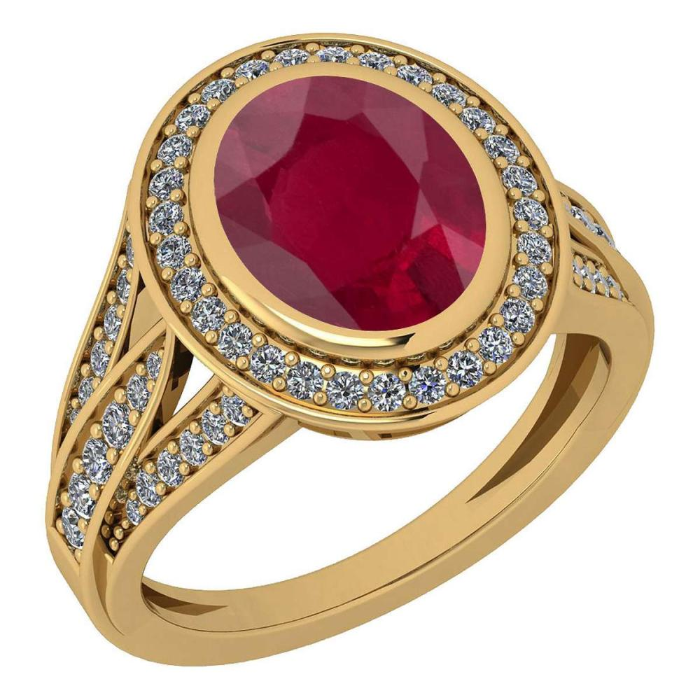 Certified 3.05 Ctw Ruby And Diamond VS/SI1 18K Yellow Gold Ring #IRS27994