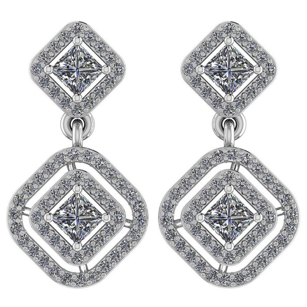 Certified 1.30 Ctw Diamond VS/SI1 14K White Gold Hanging Stud Earrings #IRS26331