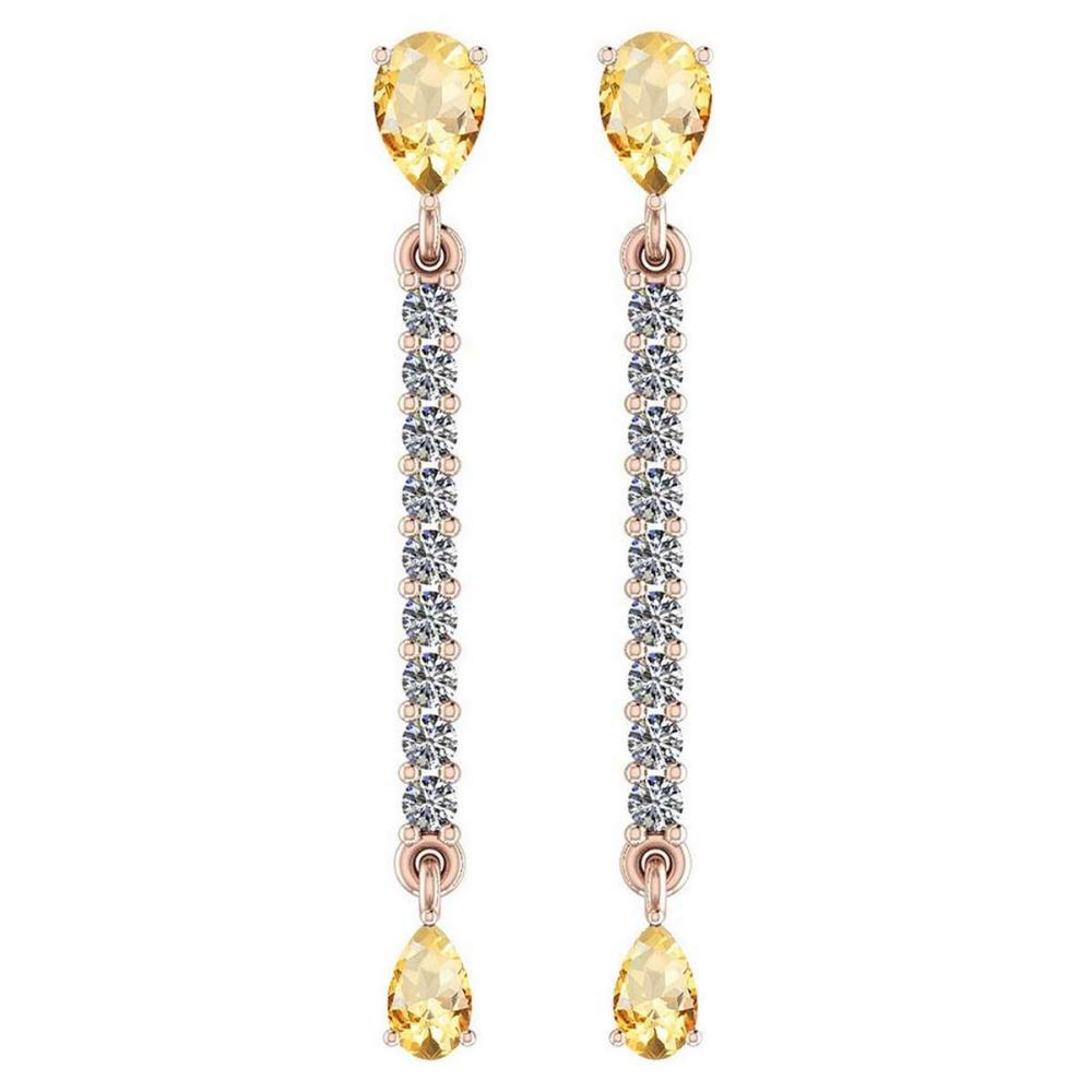 Certified 2.45 Ctw Citrine And Diamond VS/SI1 14K Yellow Gold Dangling Earrings #IRS26762