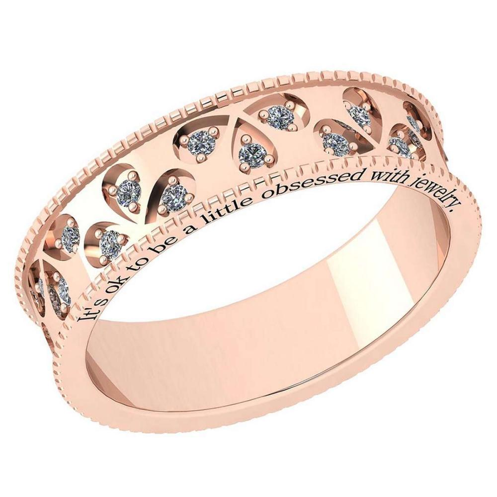 Certified 0.24 Ctw Diamond VS/SI1 18K Rose Gold Band Ring Made In USA #IRS24369