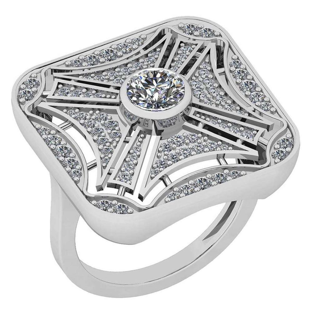 Certified 1.12 Ctw Diamond VS/SI1 14K White Gold Ring #IRS24690