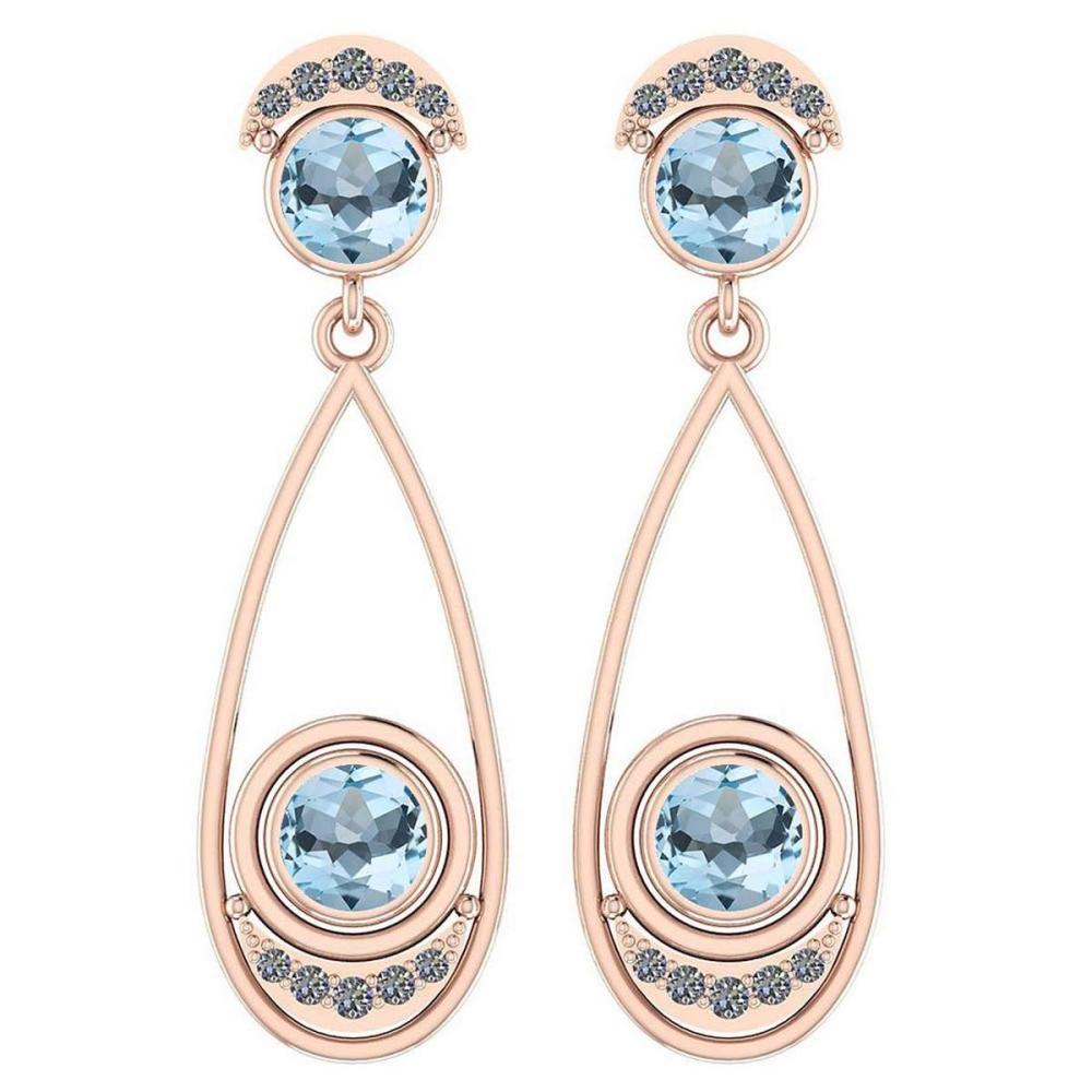 2.97 Ctw Blue Topaz And Diamond VS/SI1 14K Rose Gold Dangling Earrings #IRS25857