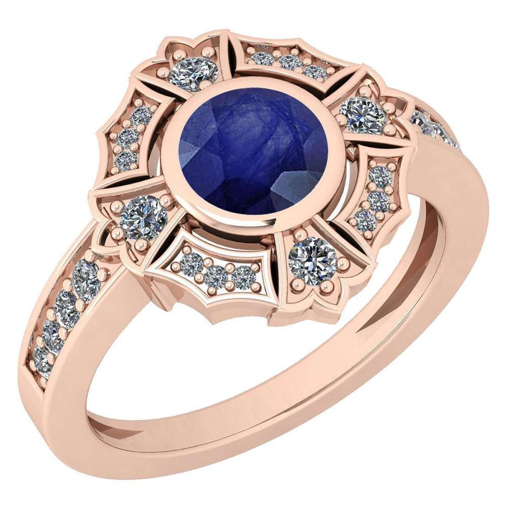 Certified 1.15 Ctw Blue Sapphire And Diamond VS/SI1 14K Rose Gold Ring #IRS27902