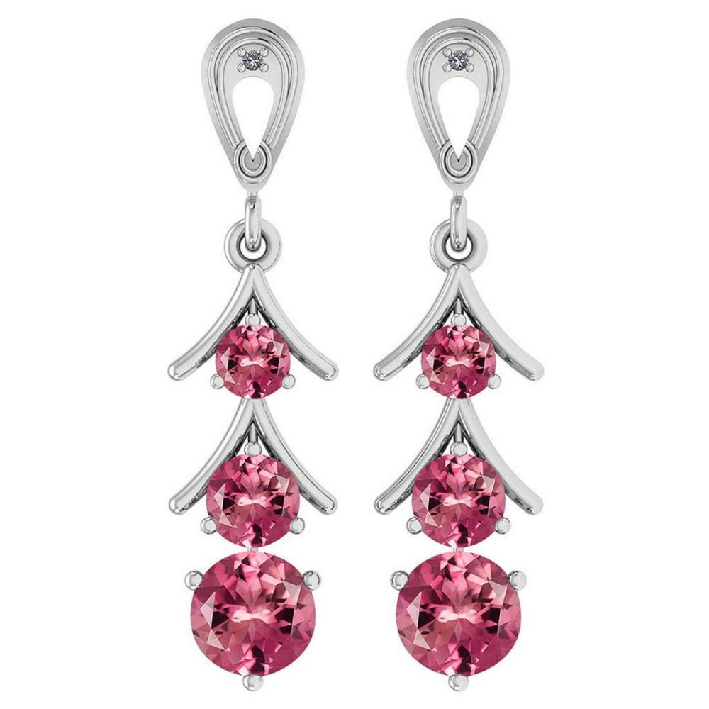 Certified 1.62 Ctw Pink Tourmaline And Diamond VS/SI1 14K White Gold Dangling Earrings #IRS25424