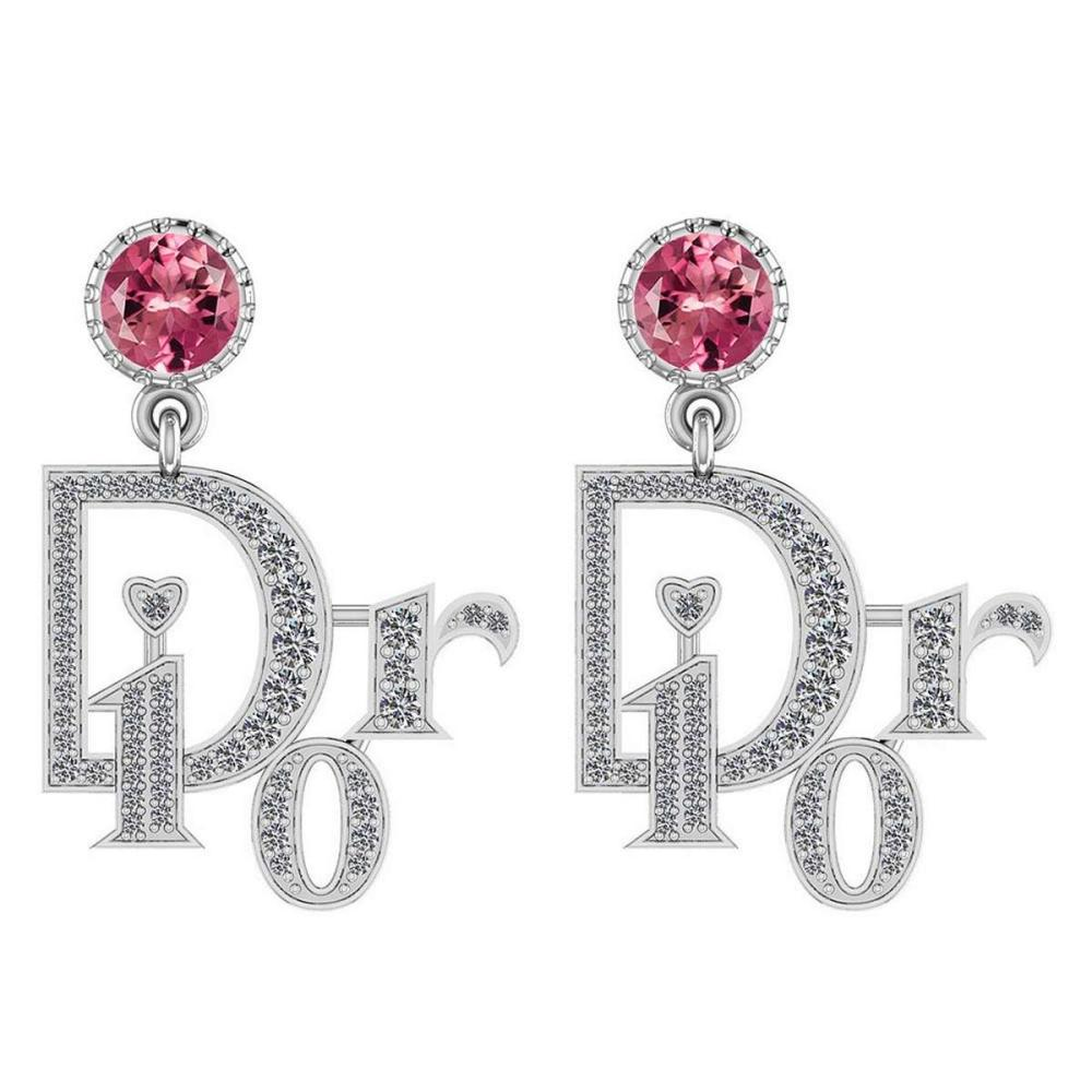 Certified 1.45 Ctw Pink Tourmaline And Diamond VS/SI1 14K White Gold Dangling Earrings #IRS25440