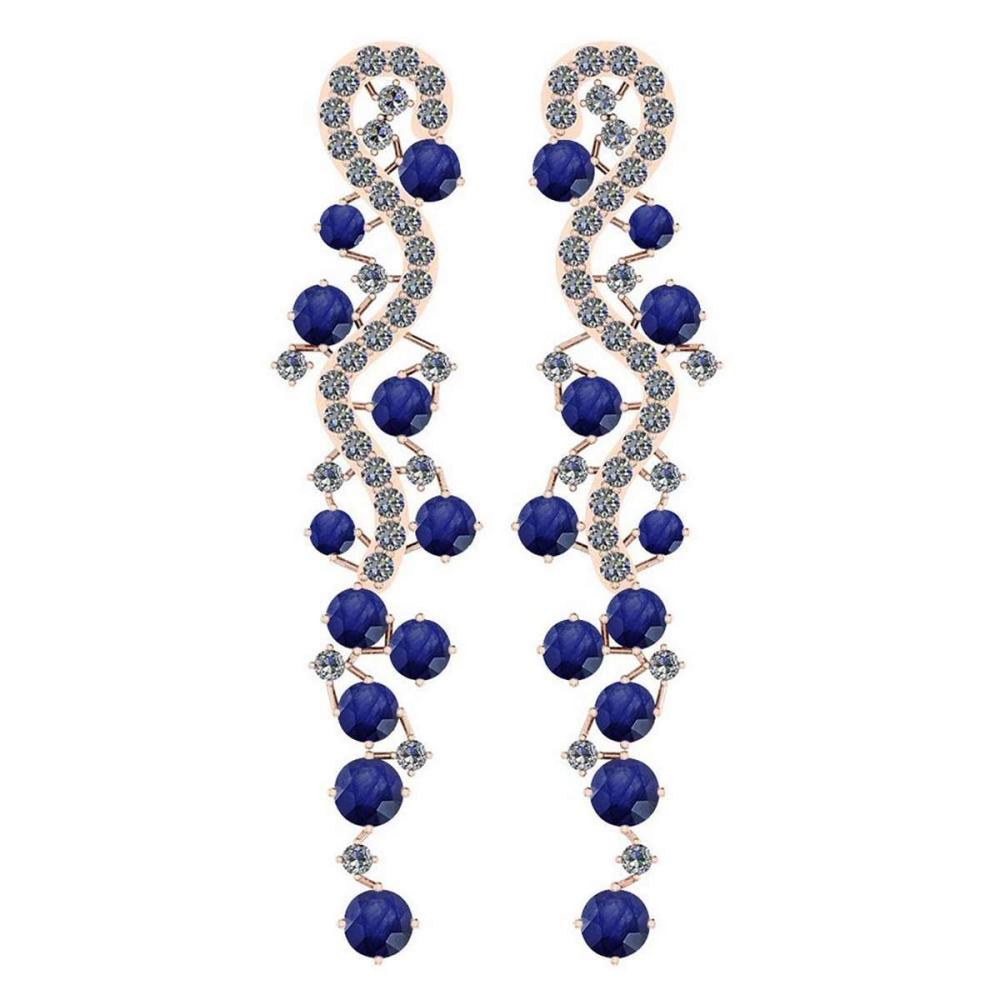 Certified 7.02 Ctw Blue Sapphire And Diamond VS/SI1 14K Rose Gold Dangling Earrings #IRS25433