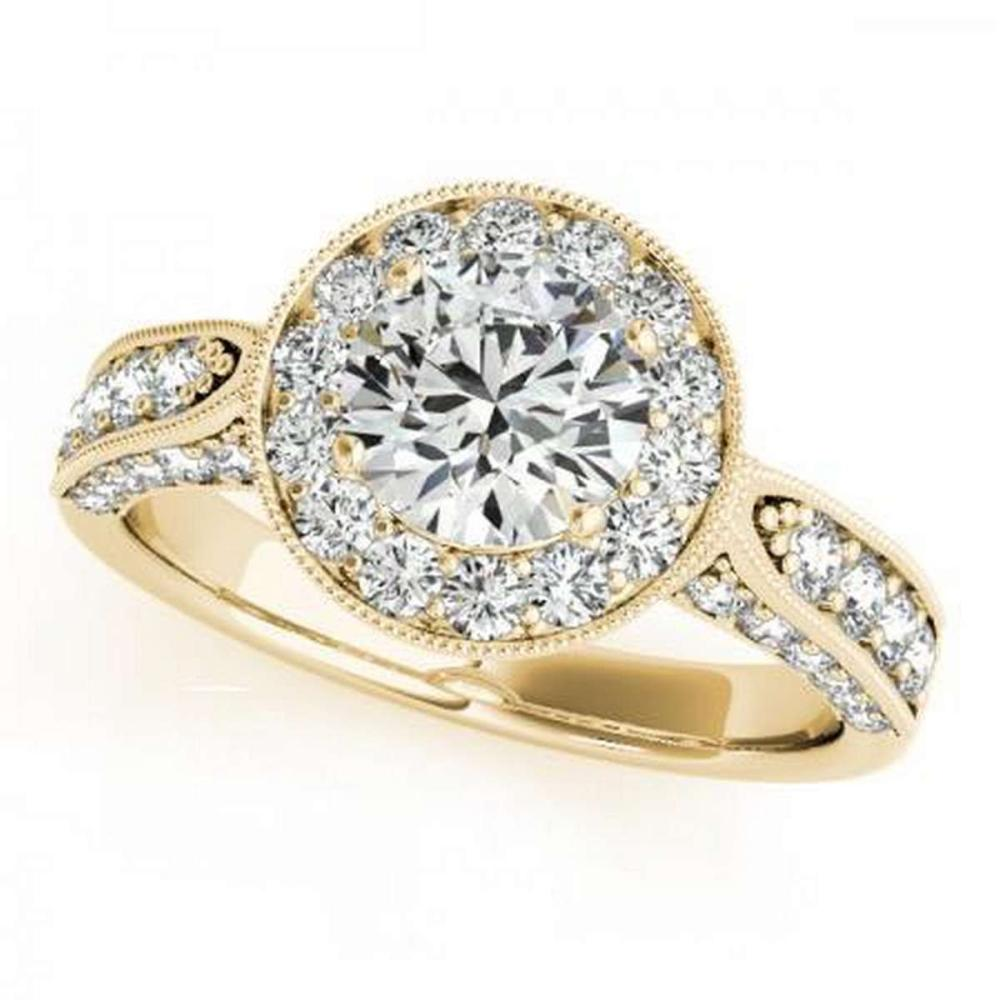 CERTIFIED 18K YELLOW GOLD 1.17 CT G-H/VS-SI1 DIAMOND HALO ENGAGEMENT RING #IRS86398
