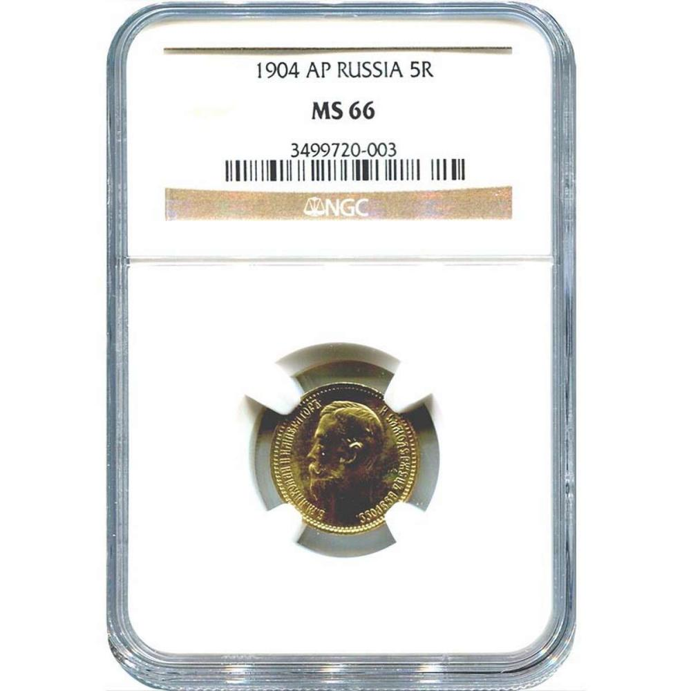 Russia 5 roubles gold 1904 MS66 NGC #IRS27690