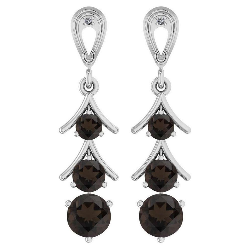 Certified 1.62 Ctw Smoky Quartz And Diamond 10K White Gold Dangling Earrings #IRS25391