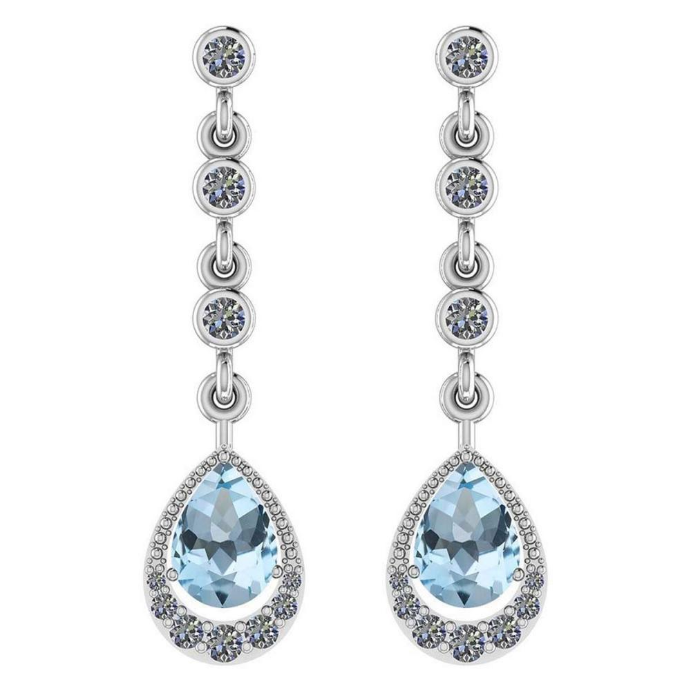 Certified 2.30 Ctw Blue Topaz And Diamond VS/SI1 14K White Gold Dangling Earrings #IRS27148