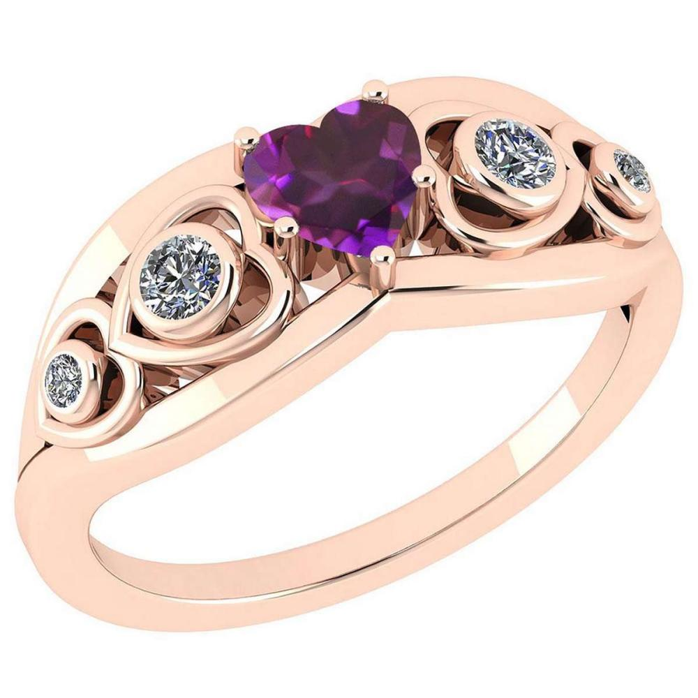Certified 0.66 Ctw Amethyst And Diamond VS/SI1 14K Rose Gold Ring Size 4.5 to 9 Is Available #IRS26768
