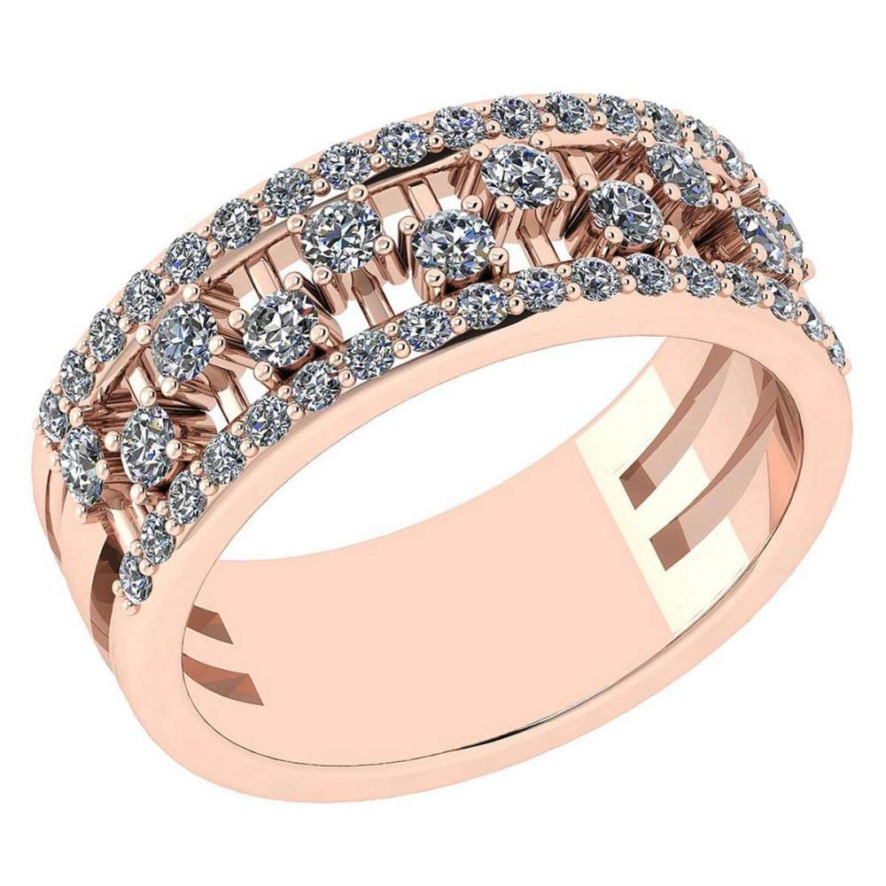 Certified 0.69 Ctw Diamond VS/SI1 14K Rose Gold Band #IRS24682