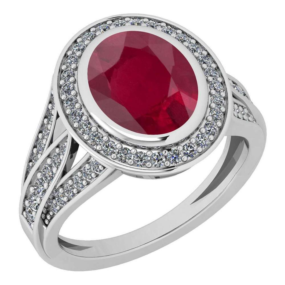Certified 3.05 Ctw Ruby And Diamond VS/SI1 14K White Gold Ring #IRS27912