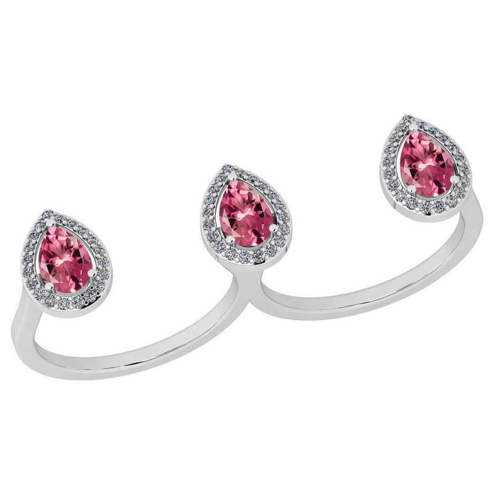 Certified 1.80 Ctw Pink Tourmaline And Diamond VS/SI1 2 Finger 14k White Gold Ring #IRS27921