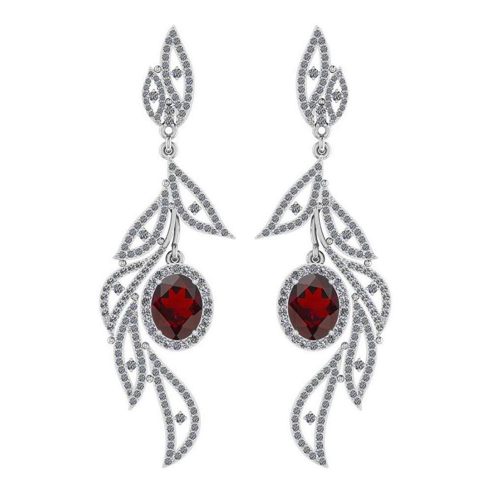 Certified 5.92 Ctw Garnet And Diamond VS/SI1 14K White Gold Dangling Earrings #IRS25807