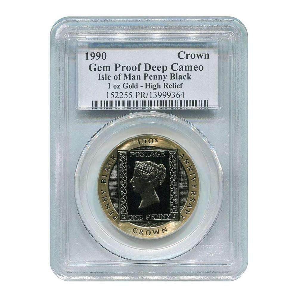 Certified Isle of Man Gold Penny Black 1990 Gem Proof Deep Cameo PCGS #IRS27693