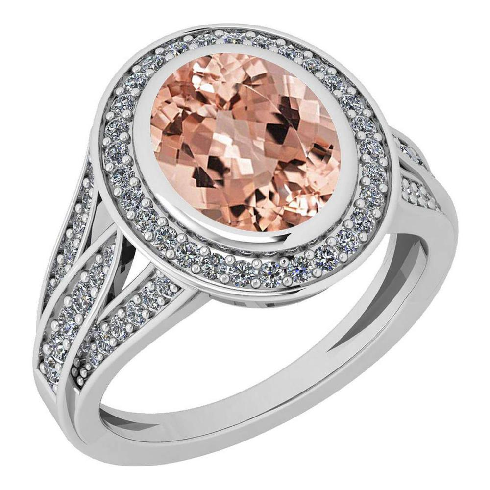 Certified 3.05 Ctw Morganite And Diamond VS/SI1 14K White Gold Ring #IRS27914