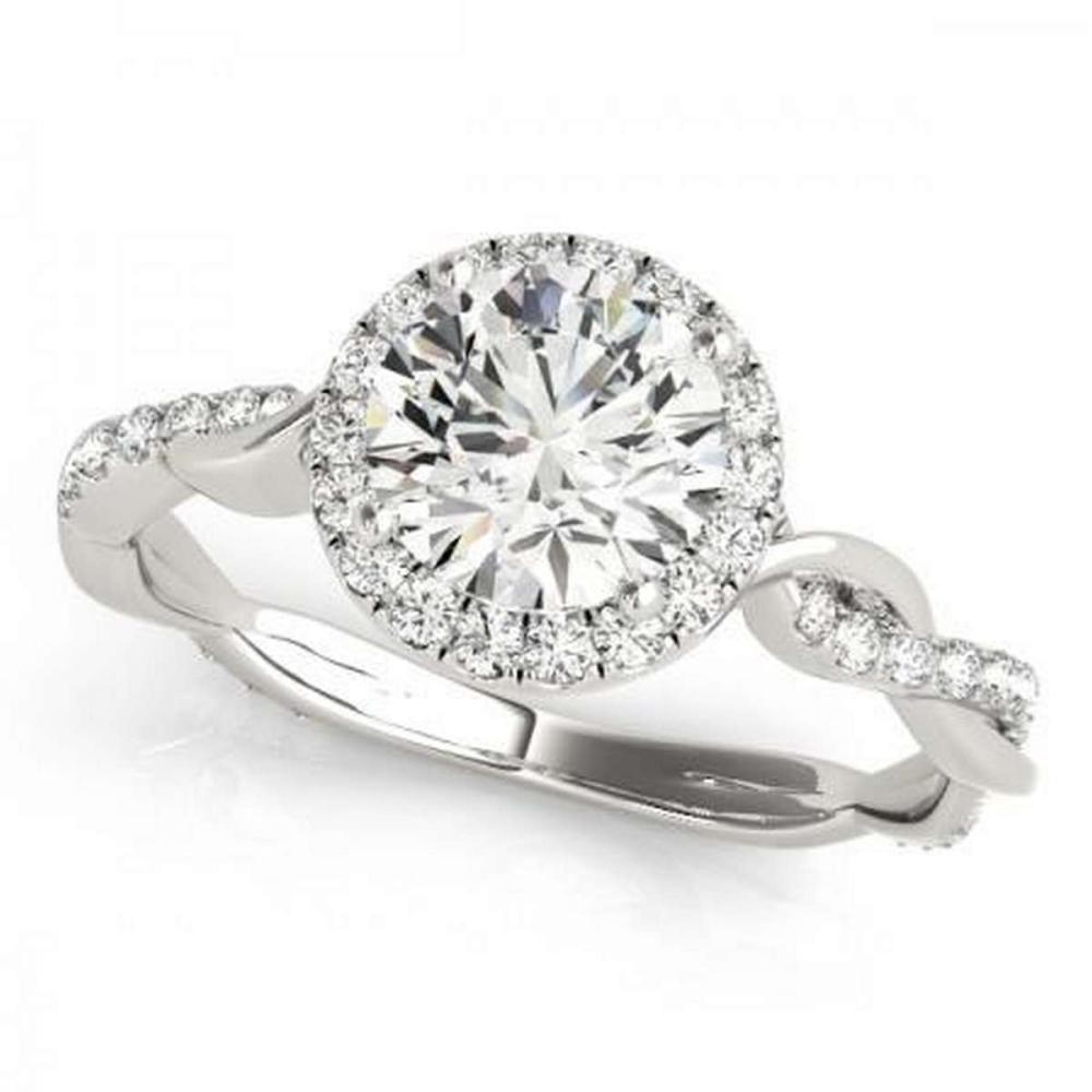 CERTIFIED 14KT WHITE GOLD 1.32 CTW G-H/VS-SI1 DIAMOND HALO ENGAGEMENT RING #IRS86796