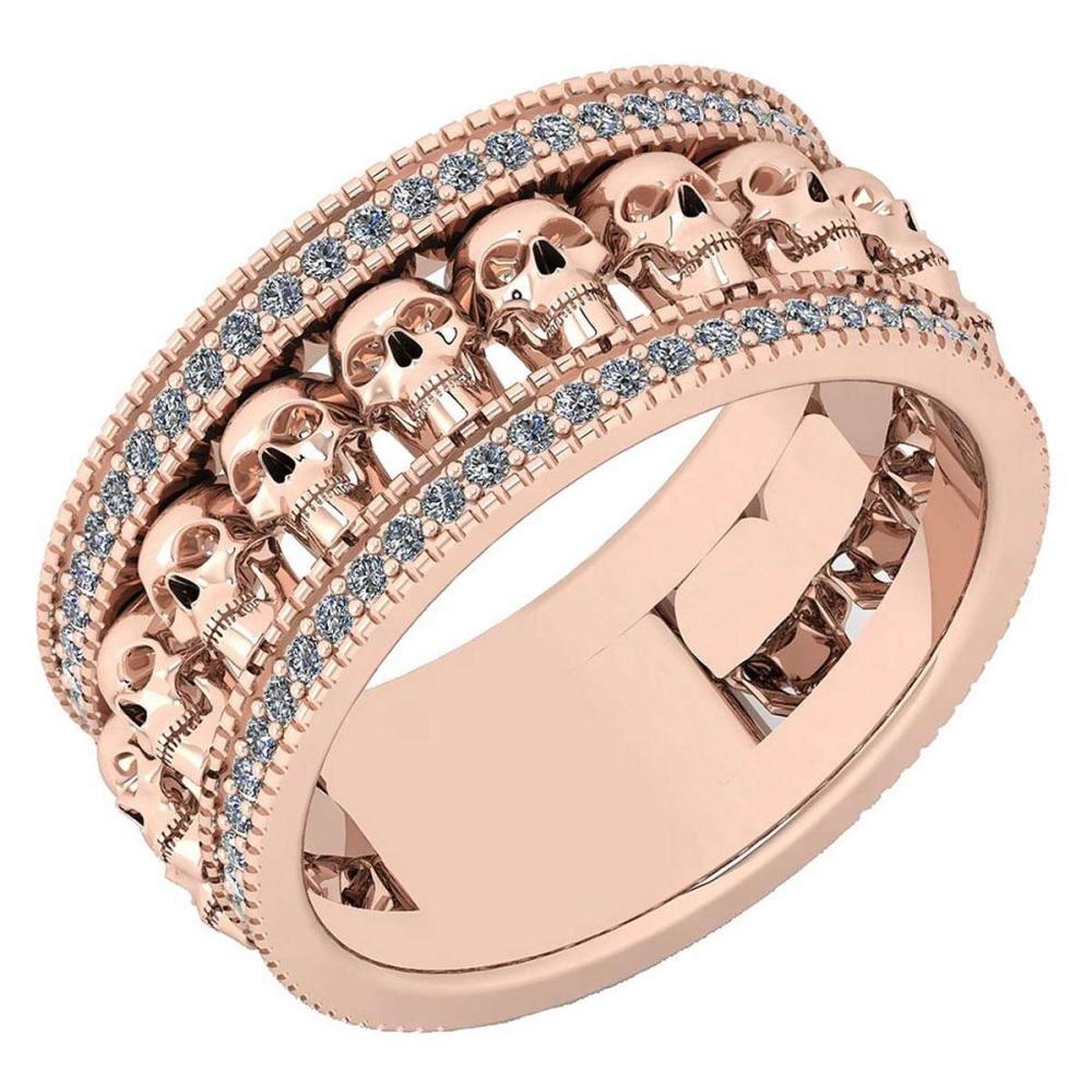 Certified 0.43 Ctw Diamond VS/SI1 Creature Style 14K Rose Gold Band Ring #IRS26592
