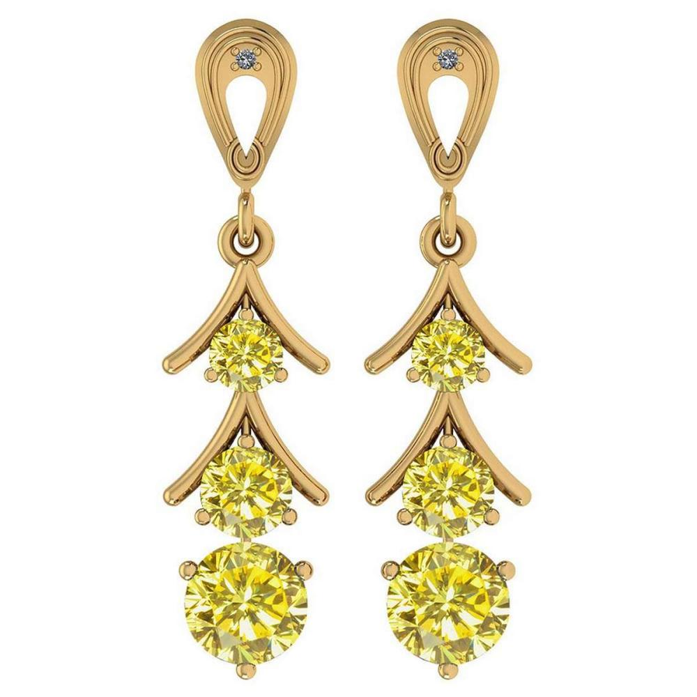 Certified 1.62 Ctw Treated Fancy Yellow Diamond I1/I2 And White Daimond VS/SI1 18k Yellow Gold Dangling Earrings #IRS25471